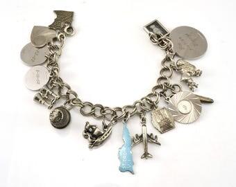 Charm Bracelet, 15 Charms, Sterling Bracelet, Vintage Bracelet