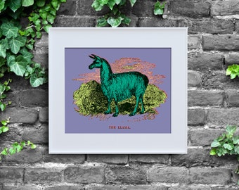 Andy Warhol Inspired Llama, Instant Download, Poster Print, Pop Art, Digital Wall Decor, Purple Lime Green, Cute Animal, 8x10, Wild Warhol