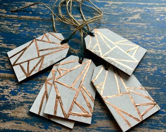 Rose Gold Gift Tags, Thank You Tags, Wedding Favor Tags, Party Favor Tags, Recycled Paper Tags, Christmas Gift Tags, Paper Tags, Set of 5