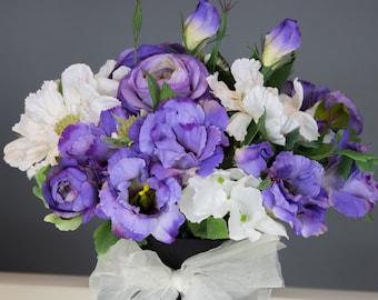 Artificial flower arrangement silk flower arrangement mothers day gift birthday gift  top table center piece home decor silk flower bouquet