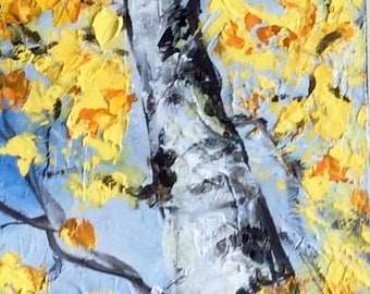 Aspen Tree Abstract Painting Original Painting 36 x 12""