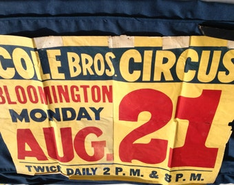 Vintage Cole Bros. Circus Poster from 1939