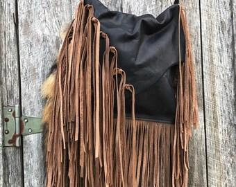 Black Soul Sister leather handbag with fringe!  Soft, crossbody, boho, gypsy, western!
