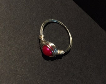Silver Ring with Bright Pink Bead