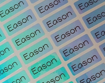 Name Labels Name Stickers personalized waterproof Bluepoly, gift seal, household labels, dishwasher safe, waterproof, blue,custom, SMALL