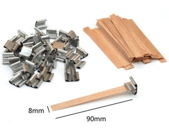 50 Pcs Wooden Candle Wicks & Sustainers