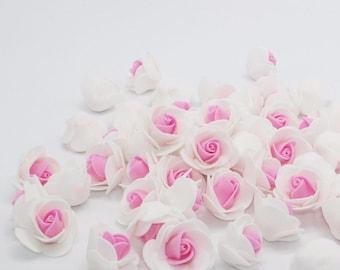 30 Pcs Mini Pink & White Artificial Roses