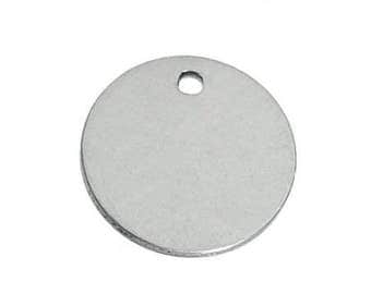 20 Pcs 15 mm (.6 in.) Round Stainless Steel Stamping Tag Pendant