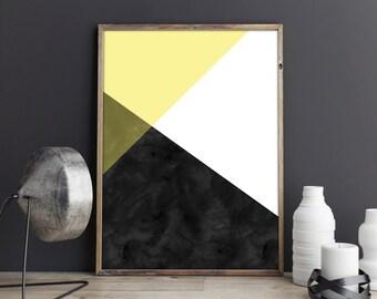 Geometry Black & Yellow || A4 Printables