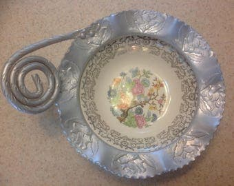 Vintage Candy Dish with Aluminum and China by Farber and Shlevin