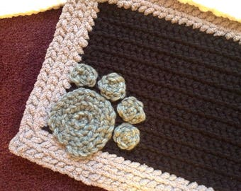 Personalized Crocheted pet mat for your pets water and food dish