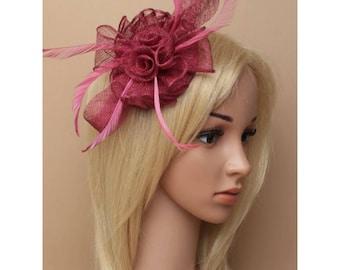 Wedding fascinator, Pink  Fascinator,  Bridal Fascinator, Wedding formal  Hat, Bridal Hair clip, Wedding Hair Accessories, Derby fascinator