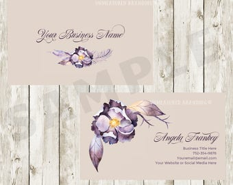 Business Cards - Floral Business Cards - Purple Business Cards - Floral Business Cards - Feminine Business Cards
