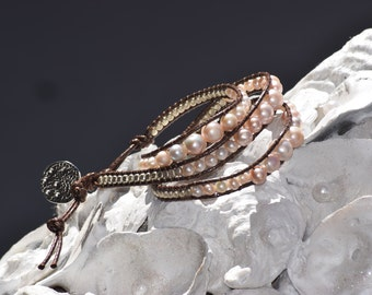 Pink Freshwater Pearl Wrap
