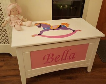 Bespoke, hand-painted wooden toy box. Custom made and one-of-a-kind