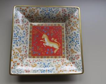 SALE!  Exquisite decorative shallow bowl, trinket dish.  Featuring a unicorn, rabbits and flowers.  Limoges Porcelain.