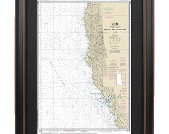 Framed Nautical Chart - Monterey Bay to Coos Bay; NOAA18010