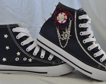 Ahoy There Sailor! Nautical Punk High-top Plimsole Trainers