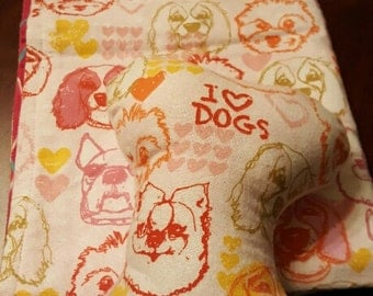 soft flannel doggy blanket and squeaker toy