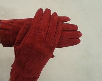 Red Suede Gloves,Vintage Gloves,Leather Gloves,Vintage Suede Gloves,Vintage Red Gloves Evening Gloves, Size 6.5 size 7