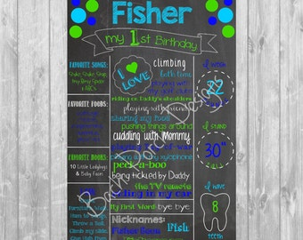 Blue and Green First Birthday Digital Chalkboard Poster