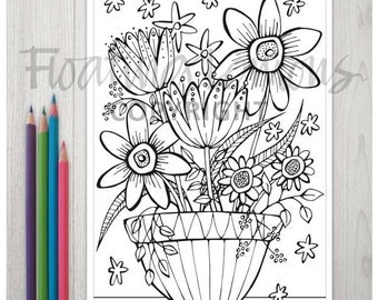Printable Quirky Flowerpot Colouring Page