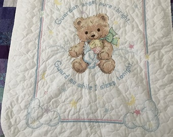 New Hand Cross Stitched Baby Quilt