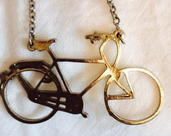 Long Silver Colored Chain With Attached Retro Bicycle Pendant!