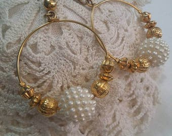 Pearl and gold beaded pierced post hoops