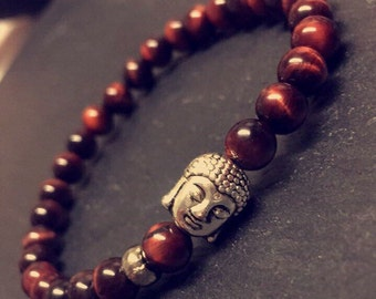 Red Tigers Eye Silver Buddha Bracelet