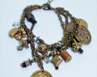Vintage Antique Brasss Charm Bracelet