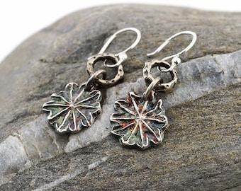 Flower earrings, fine silver poppy seedpod dangle, gift for nature lover, Irina Miech metal clay