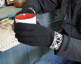 Men Winter Gloves Cold Weather Hand Knit Woolen Gloves Jacquard Pattern Gloves Knit Fair Trade Gloves Winter Set Gloves Hat Collar Gift for