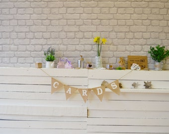 Cards Wedding Garland, Burlap Bunting, Hessian Banner Sweets Table Decorations Ideas Rustic