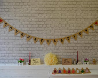 Congratulations Garland, Burlap Bunting, Prom, Hessian Banner Decorations Ideas Rustic Vintage Shabby Chic Celebration, Event