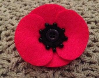 Handmade Felt Poppy Brooch