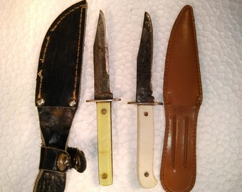 "Lot of 2 Small 4"" Stiletto Knives With Cases, Fixed Blade, USA"