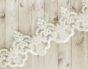 Opulent lace with beads and sequins 10cm white embroidery ornament