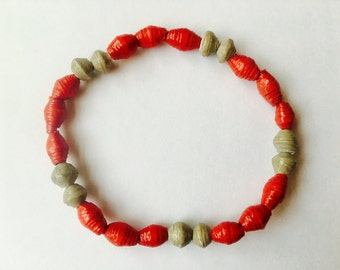 Red and Grey Paper Bead Bracelet