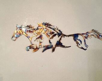 Wild Horses Metal Decor.  Two Mustangs.  Rainbow Colored.  Dancing Horses.  Hanging Art.
