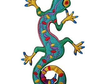 Green Gecko Lizard Embroidered Iron / Sew On Patch Clothes Top Dress Skirt Badge