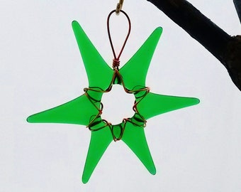 Transparent Green Glass Star Wrapped in Copper Wire