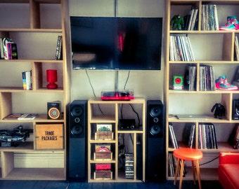 Vinyl Shelving Entertainment Unit Bookcase Storage Bespoke