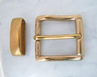 Belt buckle 3 cm, brass, with loop