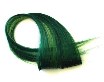"Set of TWO 16"" Clip-In Human Hair Streaks, Bright Emerald"