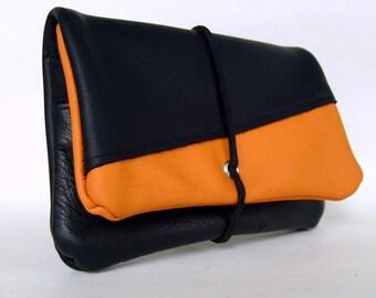 Tobacco pouch leather black & Orange