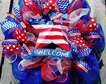 Independence Day Wreath, Fourth of July Wreath, 4th of July Wreath, Independence Day, Fourth of July, 4th of July, Red White and Blue Wreath