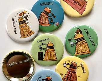 "2.25"" buttons (pins) Daleks and Doctor Who PACK OF 5"