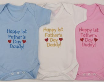 Happy 1st First Father's Day Daddy Baby Vest Blue Pink