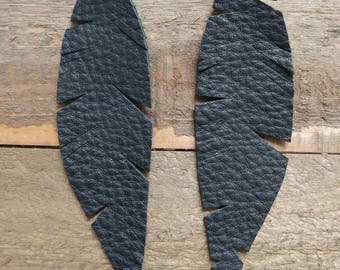 Black frayed leather feathers